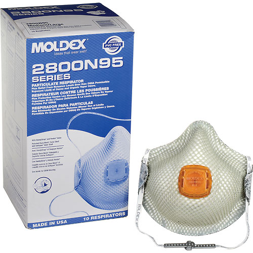 Moldex 2800N95 2800 Series N95 Particulate Respirators with HandyStrap, Medium/Large, 10/Box by