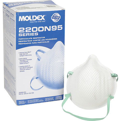 Moldex 2207N95 2200 Series N95 Particulate Respirators, Low Profile, 20/Box by