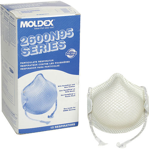 Moldex 2601N95 2600 Series N95 Particulate Respirators with HandyStrap, Small, 15/Box by