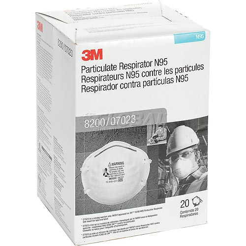 Click here to buy 3M 8200/07023(AAD) N95 Particulate Respirator, Box of 20.
