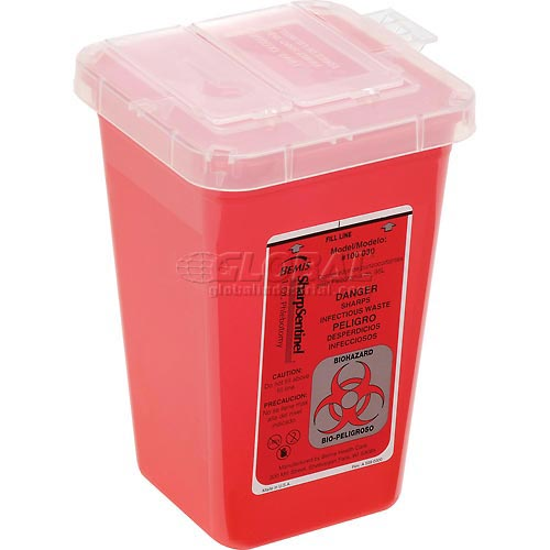 "1-Quart Phlebotomy Sharps Container, Dual Openings, 4-1/2""W x 4-1/2""D x... by"