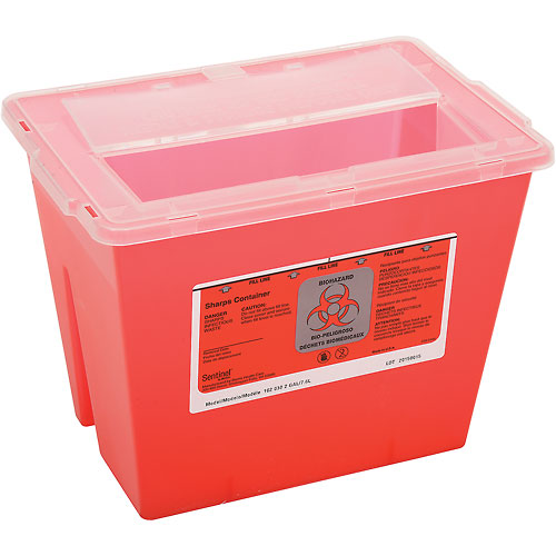 "2-Gallon Multi-Purpose Sharps Container, 11-5/8""W x 7-3/4""D x 8-5/8""H, Red by"