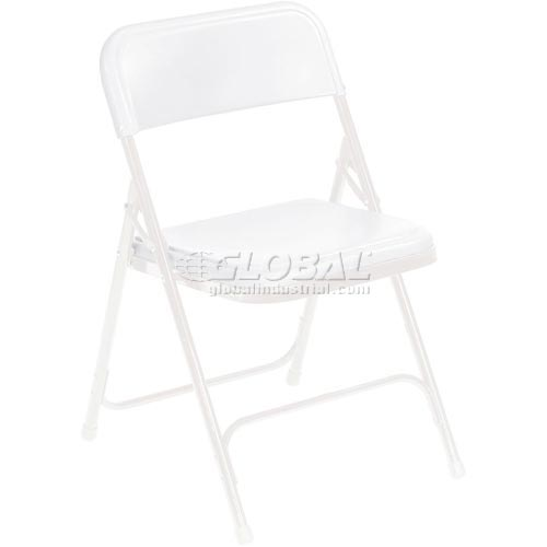 Plastic Folding Chair White Seat/White Frame Package Count 4 by