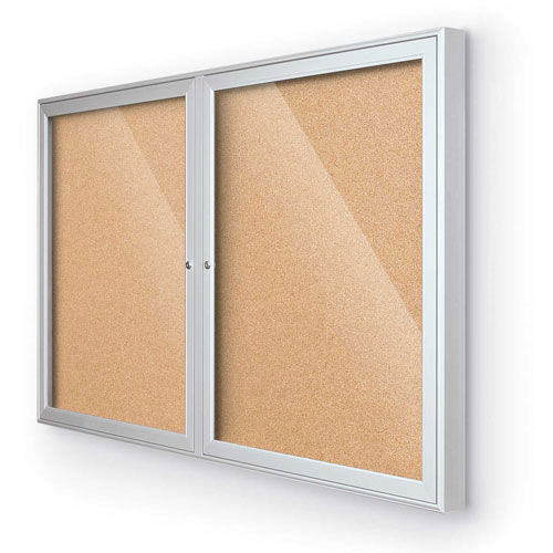 "Balt Indoor Enclosed Bulletin Board 2 Door Cork Silver Aluminum Frame 60""W x 36""H by"