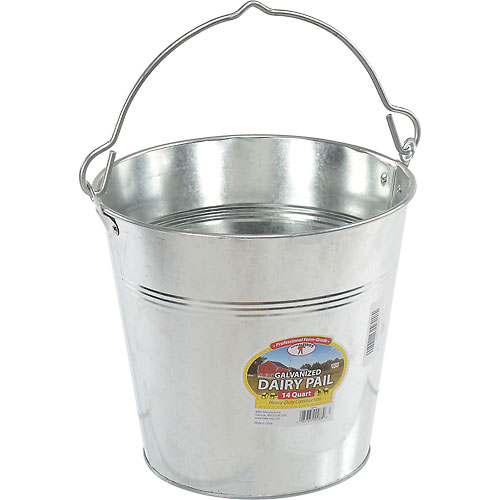 Little Giant Dairy Pail GP14, Galvanized Steel, 14 Qt. Package Count 4 by