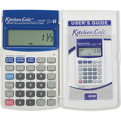 KitchenCalc Hand-held Recipe Scaling Calculator with Digital Timer by