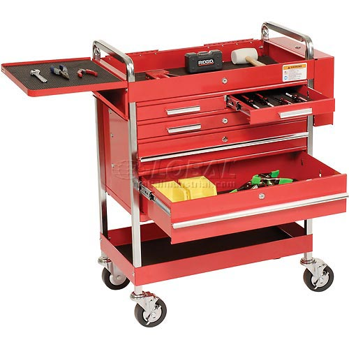 Sunex Tools 8045 Professional 5 Drawer Red Tool Cart W/ Locking Top & FREE Bench Grinder by