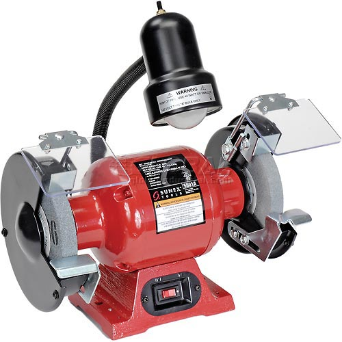 """Sunex Tools 5001A 6"""" 1/2 HP 3450 RPM Bench Grinder W/ Light by"""
