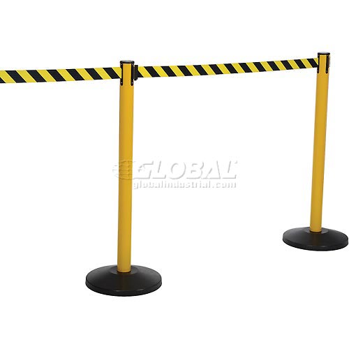 Yellow Post Safety Barrier, 11 Ft., Yellow/Black Belt Package Count 2 by