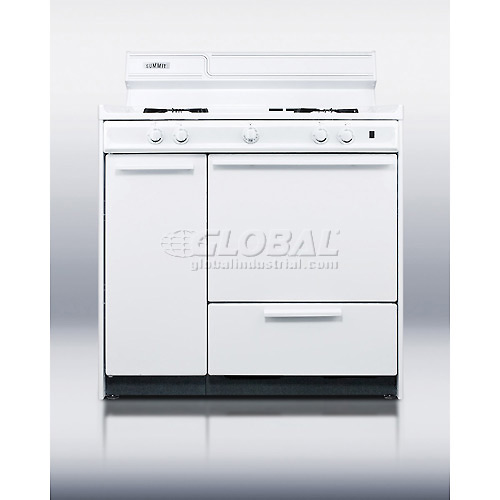 "Summit WNM430P White Gas Range, Battery Start Ignition 36""W by"