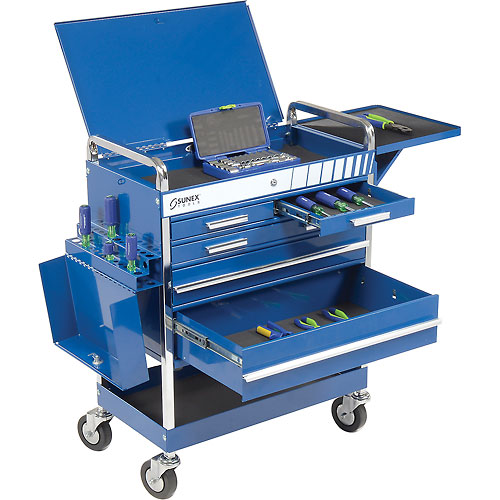 Sunex Tools 8045BL Professional 5 Drawer Blue Tool Cart W/ Locking Top & FREE Bench Grinder by