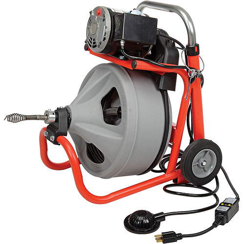 "RIDGID K-400 Drum Machine W/Bulb Auger & Gloves, 115V, 6.7AMPS, 1/3HP, 75L x 3/8""W Cable by"