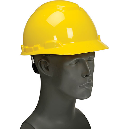 3M Hardhat With UVicator, H-702R-UV, Yellow, 4-Point Ratchet Suspension by