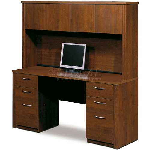"""Bestar Credenza with Hutch 66"""" Tuscany Brown Embassy Series by"""