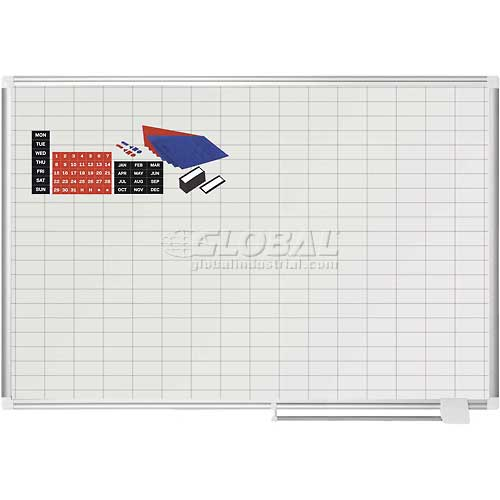 "Magnetic Planning Board Kit 1x2 Grid 48""W x 36""H Porcelain Surface by"