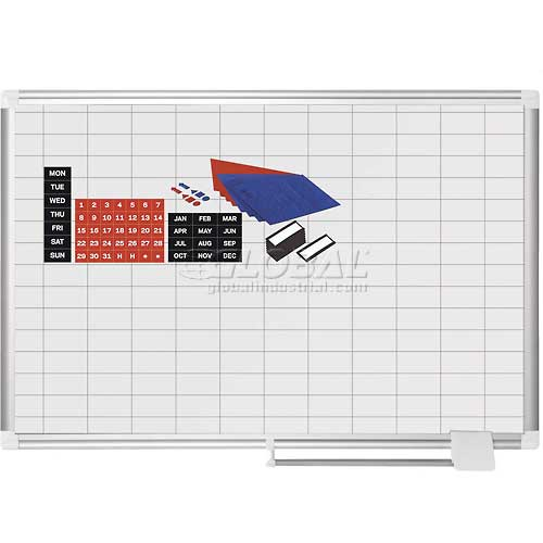 "Magnetic Planning Board Kit 1x2 Grid -36""W x 24""H Steel Surface by"