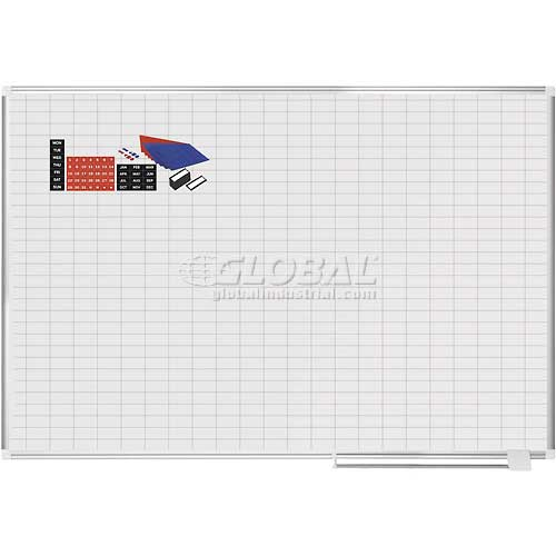 "Magnetic Planning Board Kit 1x2 Grid 72""W x 48""H Steel Surface by"