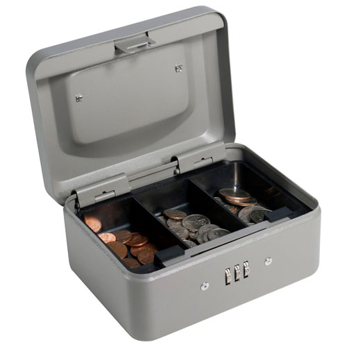 "Barska Cash Box With Combination Lock CB11782 6"" x 4-1/2"" x 3-1/8"" Gray by"