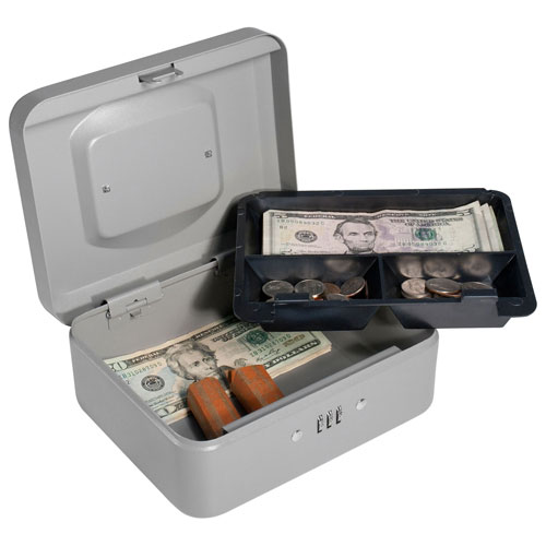 "Barska Cash Box With Combination Lock CB11784 8"" x 6-5/16"" x 3-1/2"" Gray by"