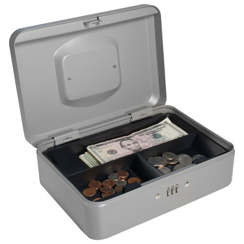 "Barska Cash Box With Combination Lock CB11786 10"" x 7-1/16"" x 3-9/16"" Gray by"
