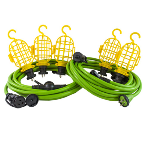 Conntek 50ft Multi-Functional Extension cords/Locking String Light kit, w/ 5 Light Cages by