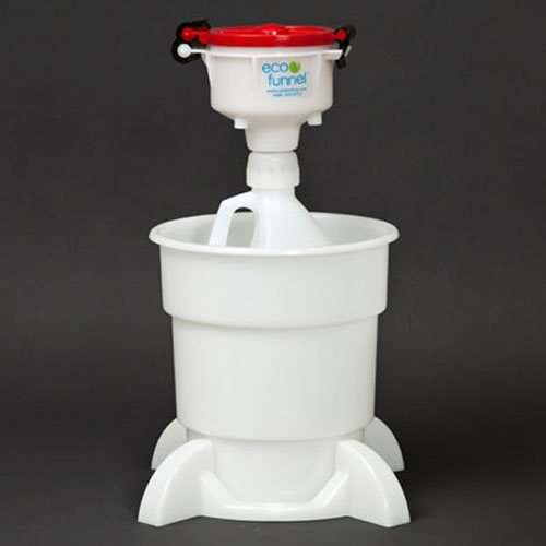 "Click here to buy ECO Funnel EF-4-38-4004-SYS 4"" ECO Funnel System, 1 Gal Jug & Secondary Container, Red Lid."