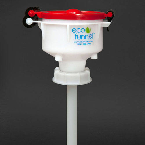 """Click here to buy ECO Funnel EF-4-63B 4"""" ECO Funnel with 63mm Cap Adapter, Red Lid."""