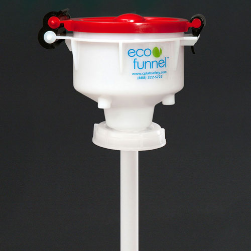 """Click here to buy ECO Funnel EF-4-FS70 4"""" ECO Funnel with 70mm Cap Adapter, Red Lid."""