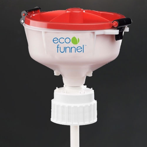 "Click here to buy ECO Funnel EF-8-83B 8"" ECO Funnel with 83mm Cap Adapter, Red Lid."