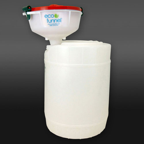"Click here to buy ECO Funnel EF-8-FS70-SYS 8"" ECO Funnel System, 5 Gallon Natural Drum, Red Lid."