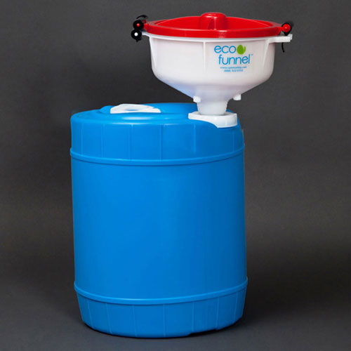 """Click here to buy ECO Funnel EF-8-FS70-SYSB 8"""" ECO Funnel System, 5 Gallon Blue Drum, Red Lid."""