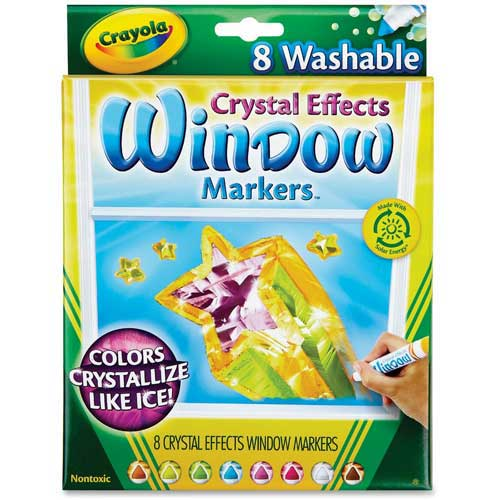 Crayola Crystal Effect Window Markers, Assorted, 8/Set by