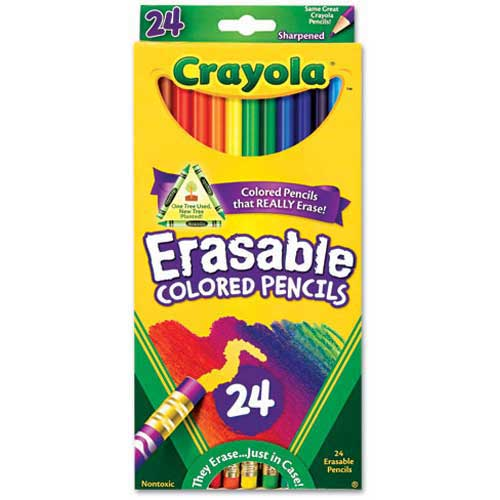 Crayola Erasable Colored Pencils, Assorted, 24/Pack by