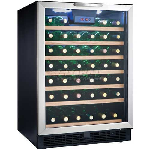 "Click here to buy Danby DWC508BLS Wine Cooler, 50 Bottle, Built-in or Freestanding, LED Display, 23-3/4""W x 34-1/2""H."