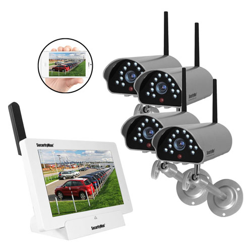 Buy SecurityMan Digital Wireless iSecurity Camera Syst, 4 Cameras, Outdoor/Indoor, DIGILCDNDVR4