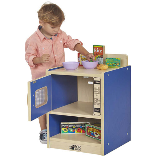 ECR4Kids Colorful Essentials Play Kitchen Microwave Blue by