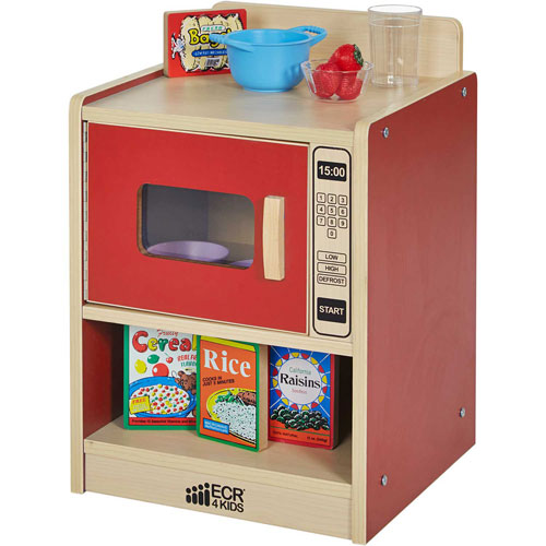 ECR4Kids Colorful Essentials Play Kitchen Microwave Red by