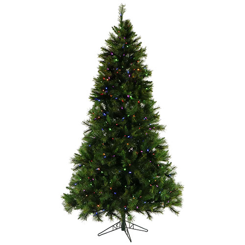 Fraser Hill Farm Artificial Christmas Tree 12 Ft. Canyon Pine Multi-Color LED String Lighting by