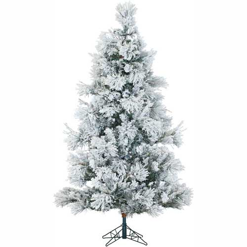 Fraser Hill Farm Artificial Christmas Tree 10 Ft. Flocked Snowy Pine Smart String Lighting by