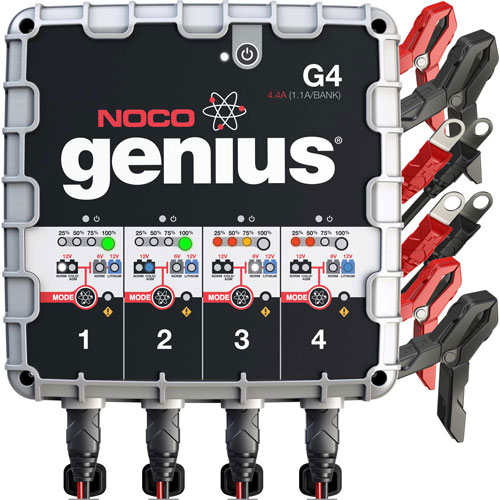 NOCO Genius 4.4 Amp 4-Bank UltraSafe Battery Charger and Maintainer, 6/12V G4 by