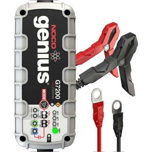NOCO Genius 7.2 Amp UltraSafe Battery Charger and Maintainer, 12/24V G7200 by