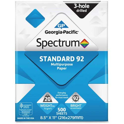 "Copy Paper Georgia Pacific Spectrum 999813 8-1/2"" x 11"" 92 lb. White 5000 Sheets by"