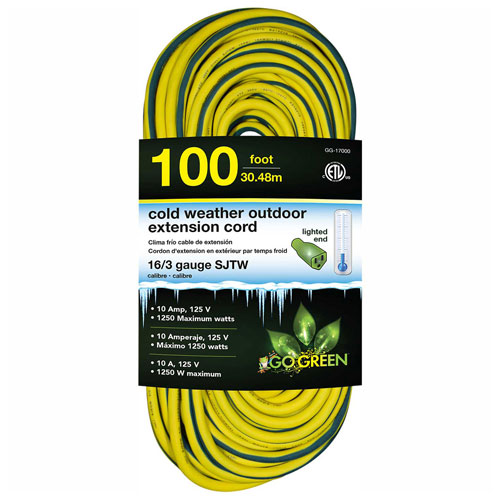 GoGreen GG-17700 16/3 100' Cold Weather Outdoor Extension Cord, Yellow w/Green Stripe. Lighted End by