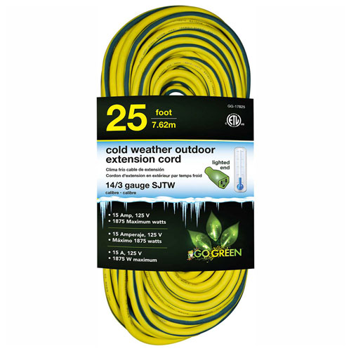 GoGreen GG-17825 14/3 25' Cold Weather Outdoor Extension Cord, Yellow w/Green Stripe. Lighted End by