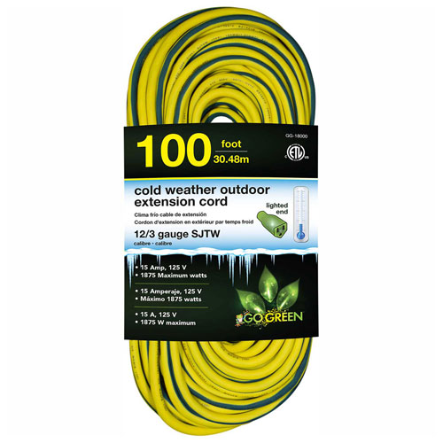 GoGreen GG-18000 12/3 100' Cold Weather Outdoor Extension Cord, Yellow w/Green Stripe. Lighted End by