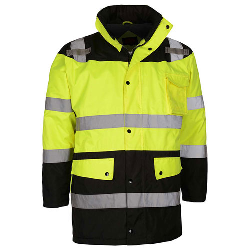 GSS Safety Hi-Visibility Class 3 Waterproof Parka Jacket W/Fleece Liner, Lime/Black, M by Parkas