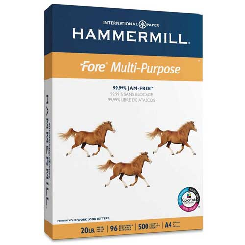 """A4 Copy Paper Hammermill Fore 103036 8-1/4"""" x 11-11/16"""" 20 lb White 500 Sheets/Ream by"""