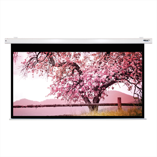 """Click here to buy HamiltonBuhl Electric Projector Screen 110"""" Diagonal HDTV Format White Frame."""