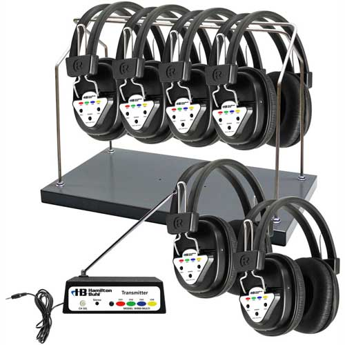 Buy HamiltonBuhl Wireless 6 Person Listening Center w/ Transmitter, Wireless Headphones & Rack