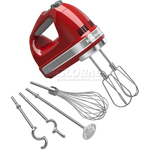 Click here to buy KitchenAid 9-Speed Digital Hand Mixer, Turbo Beater II Acc. Empire Red, KHM926ER.